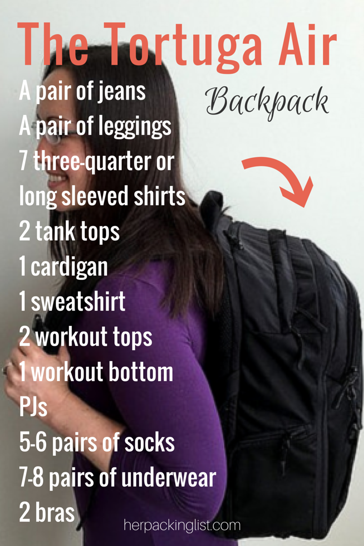 The Tortuga Air Backpack and packing list