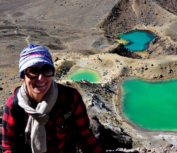 Bobbi with her Buff at the Emerald Lakes at Tongariro Crossing, NZ.