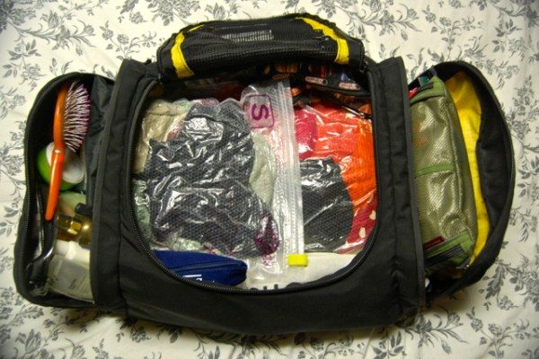 The interior of her Tom Bihn bag.