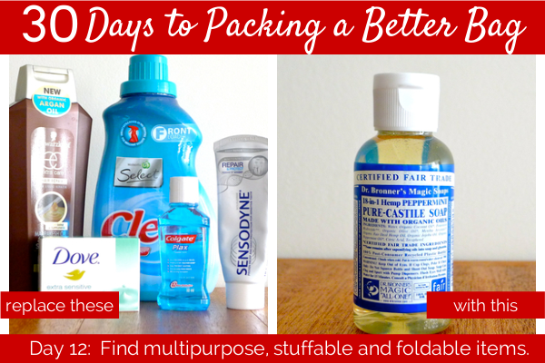 Day 12:  Find multipurpose, stuffable and foldable items.