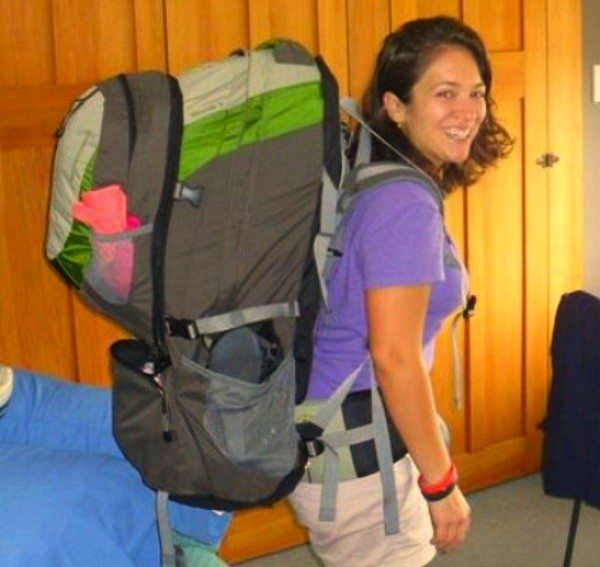 Laura Bronner and her 80L backpack suited up - downsize your luggage