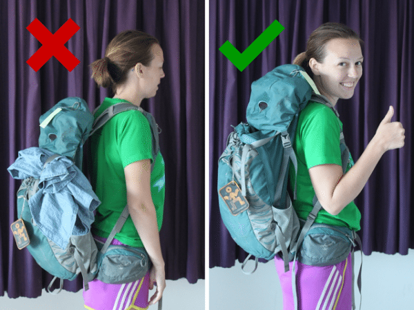 The wrong and right way to wear a backpack