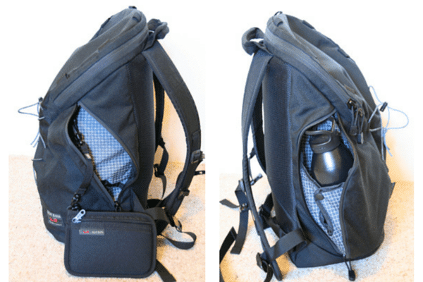 Left:  Side pocket with small pouch via O-ring; Right:  Side pocket holding water bottle.