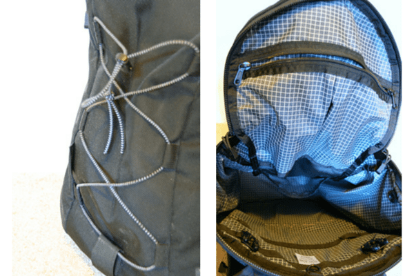 Left: bungee cord; Right: Inside the bag, opening the top flap.