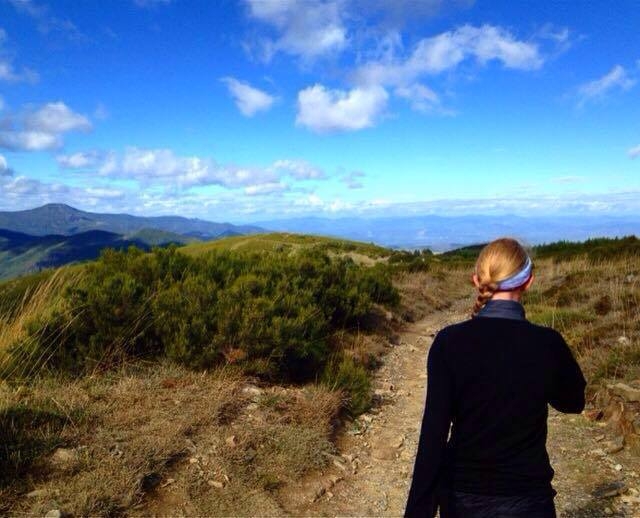 Nicolette walking the Camino de Santiago