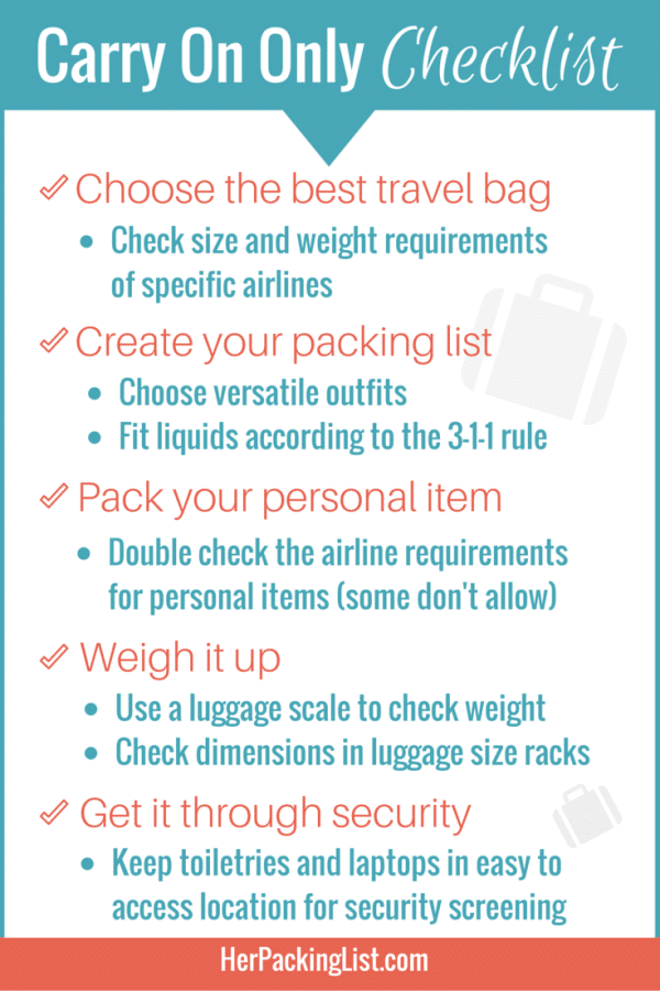 traveling with only a carry on checklist