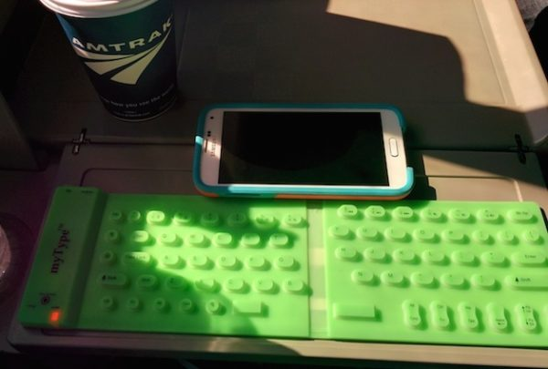 Using the myType Keyboard on the train.