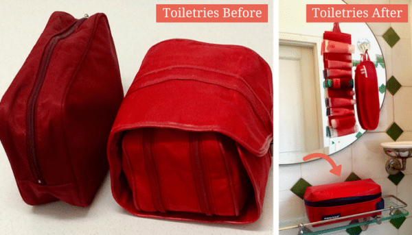 downsizing toiletries: before and after