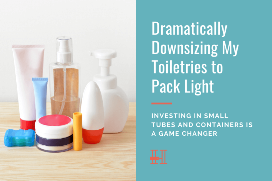 downsizing toiletries to pack light