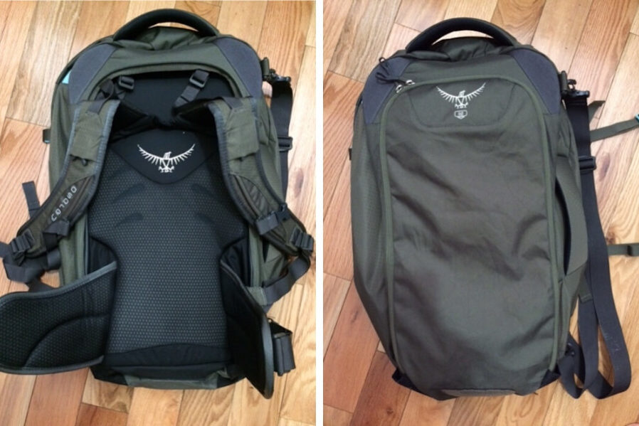 back panel of osprey fairview 40 backpack open and stowed