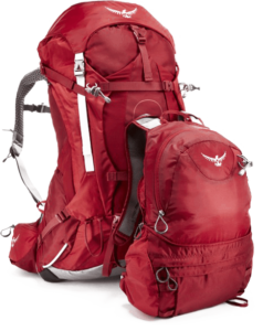 Osprey Ariel AG 55 with converted daypack