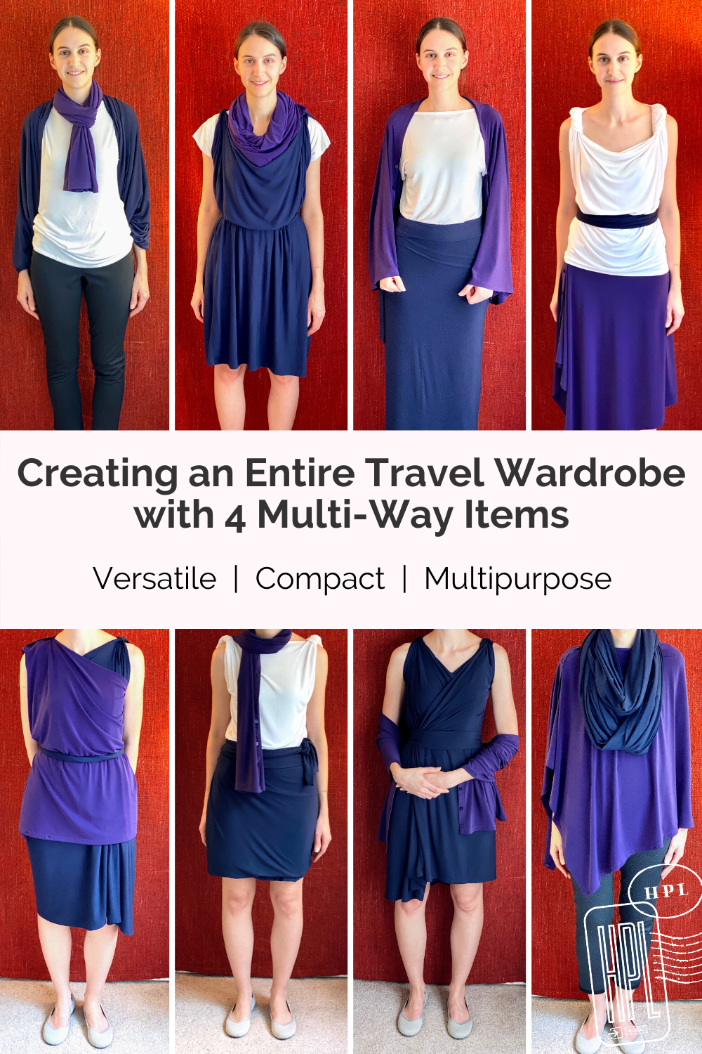 minimal travel wardrobe with multiway clothing