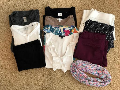 Minimal travel capsule wardrobe pieces.