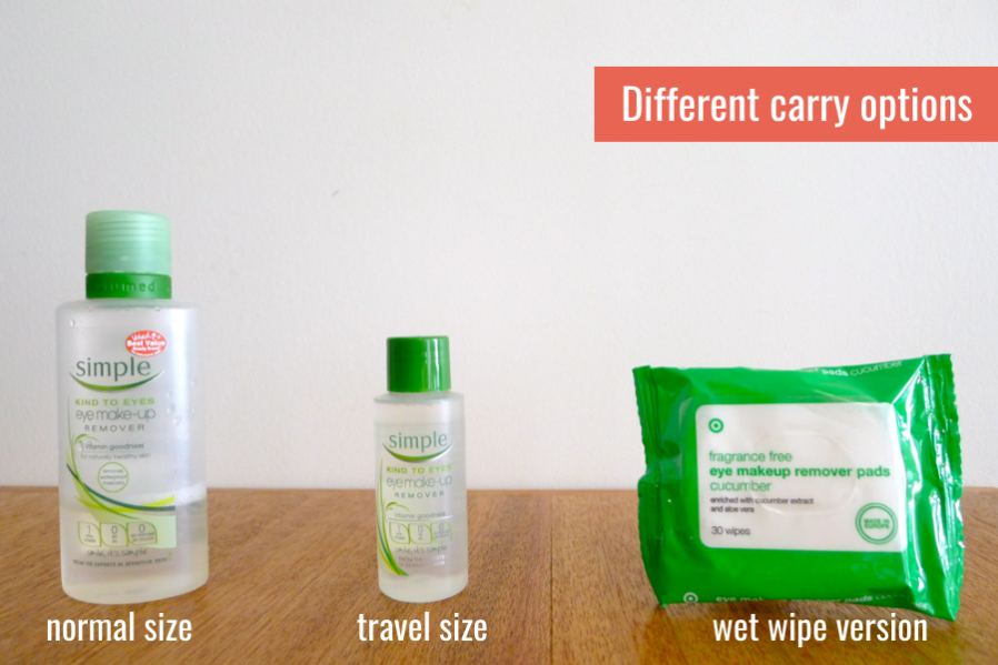 how to pack liquid toiletries - different carrying options