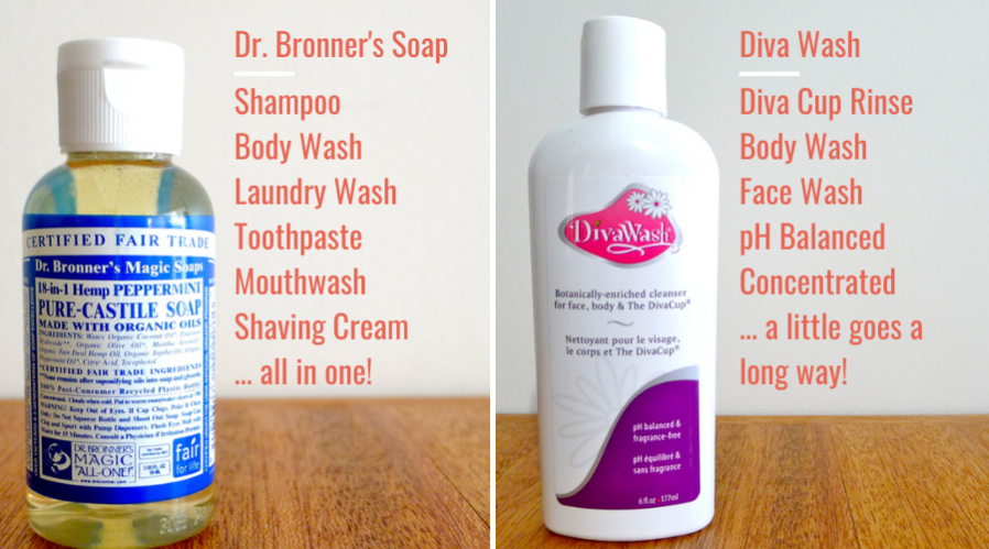 how to pack liquid toiletries - the many uses of Dr. Bronner's and Diva Wash.