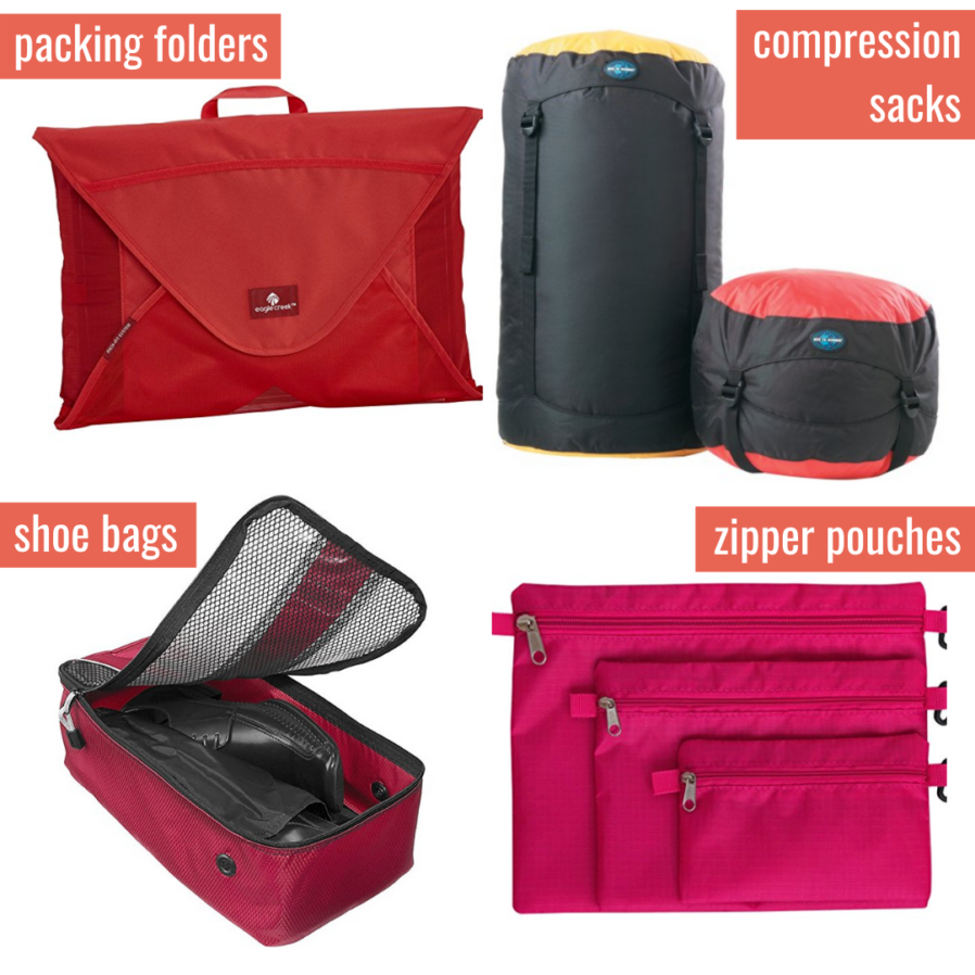 Packing Cube Alternatives: Packing folders, compression sacks, shoe bags, and zipper pouches.