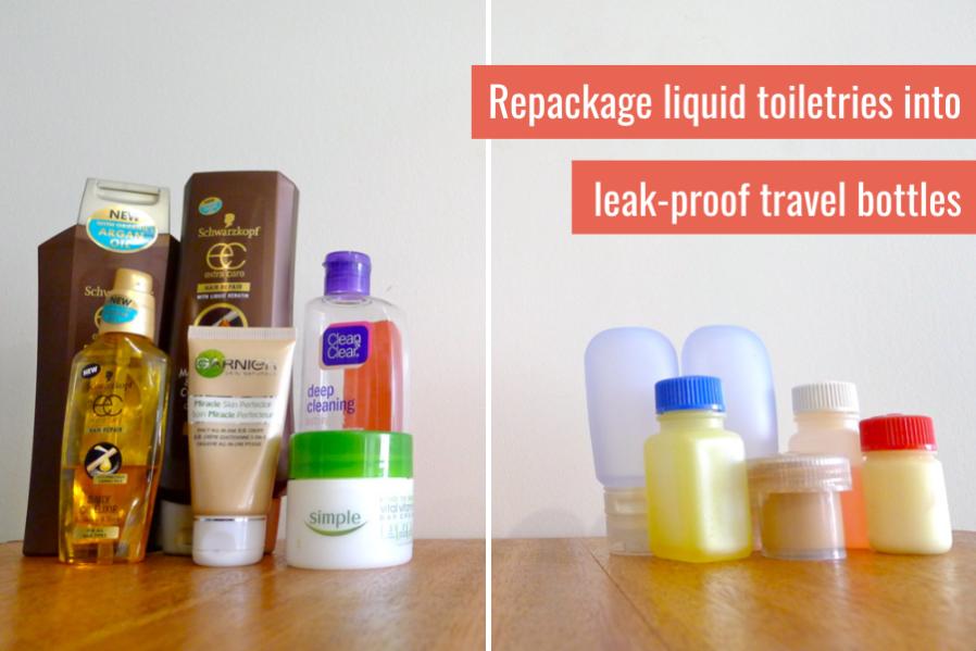 how to pack liquid toiletries - leak proof travel bottles